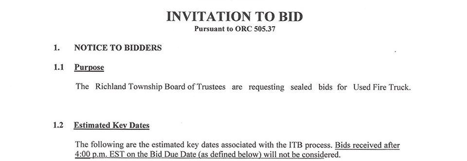 Invitation to Bid Info and Packet