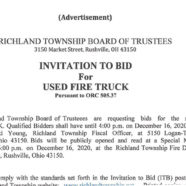Ad – Invitation To Bid – Used Fire Truck